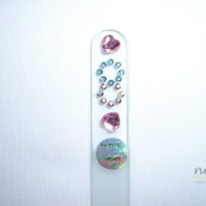Crystal Glass Nail File with Hearts & Chains in Swarovski