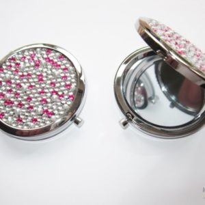 Compact Mirror with a Pink and Clear Jewels Design