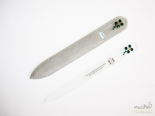 Crystal Glass Nail File with a 4 Leaf Clover in Swarovski