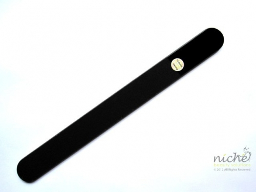 Large Glass Nail File in All Black in a Velvet Pouch