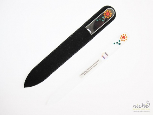 Crystal Glass Nail File with a Sunflower in Swarovski
