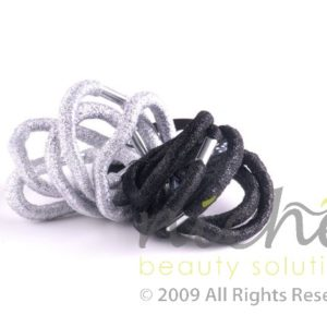 Beauty Senses Black and Silver Glitter Hair Loops - 8 pack