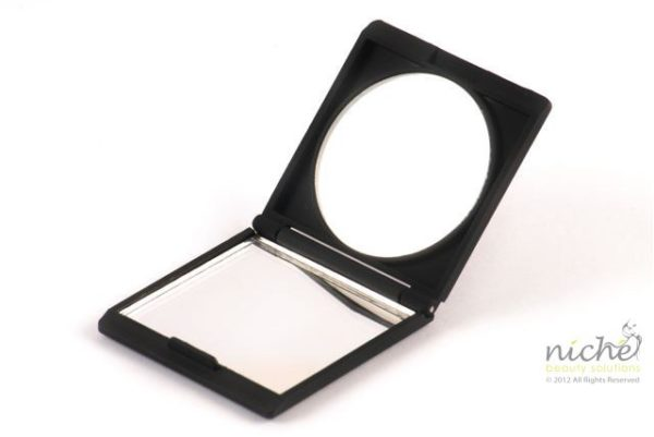 Compact Mirror in a Black Soft Touch Finish
