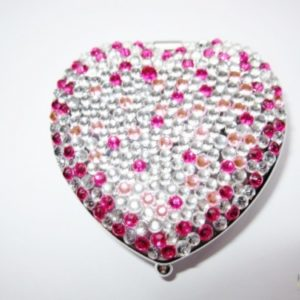 Compact Mirror in a Heart Shaped Design with Jewels