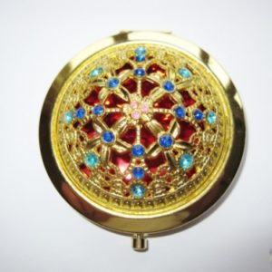 Compact Mirror in a Gold Finish with a Jewelled Design