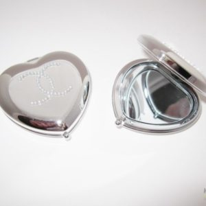 Compact Mirror  in a Chrome Heart Shaped Design