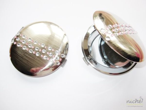Compact Mirror in a Chrome Finish with Jewels