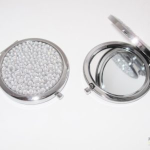 Compact Mirror in a Chrome Finish with Clear Jewels