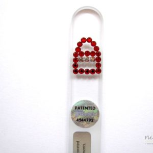 Crystal Glass Nail File with a Red Handbag in Swarovski