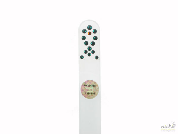 Crystal Glass Nail File with a Green Fish in Swarovski