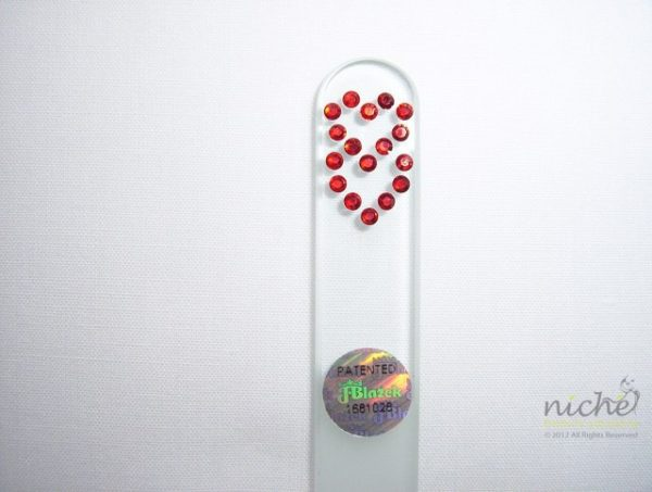 Crystal Glass Nail File with Linked Hearts in Swarovski