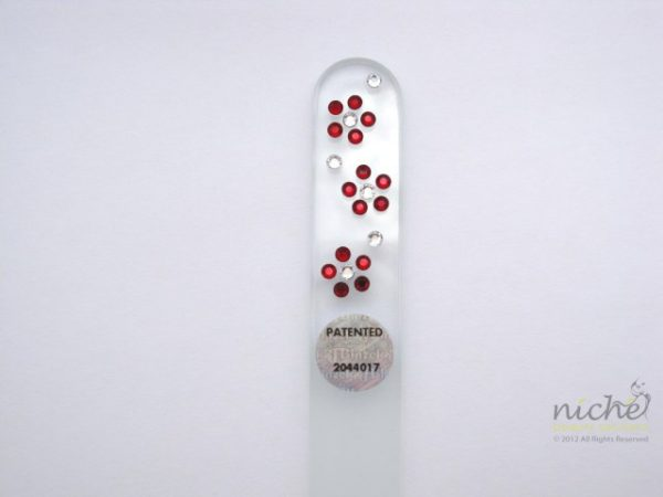 Crystal Glass Nail File with Summer Flowers in Swarovski