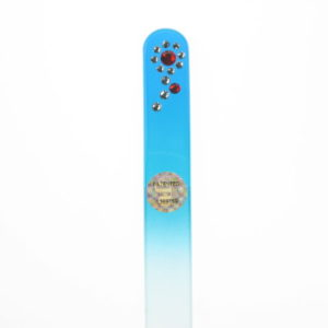 Crystal Glass Nail File with a Red Flower in  Swarovski