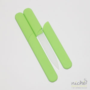 Glass Nail File in a Soft-Touch Lime Green Protective Case