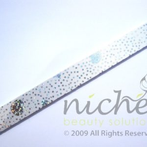 Glitter Cushioned Emery Board - White with Hearts