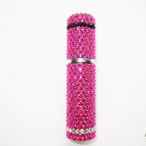 Perfume Atomiser Bottle in Pink and Black Jewels