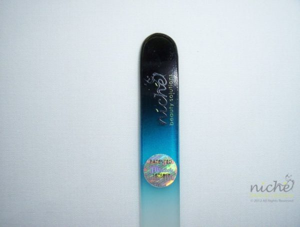 Medium Glass Nail File with a Black to Sky Blue Handle