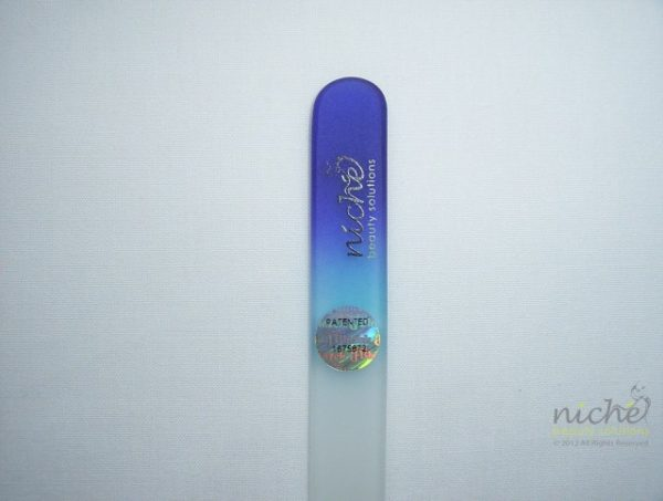 Medium Glass Nail File with a Dark Blue to Sky Blue Handle