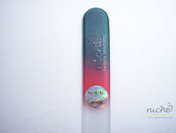 Medium Glass Nail File with a Dark Green to Red Handle
