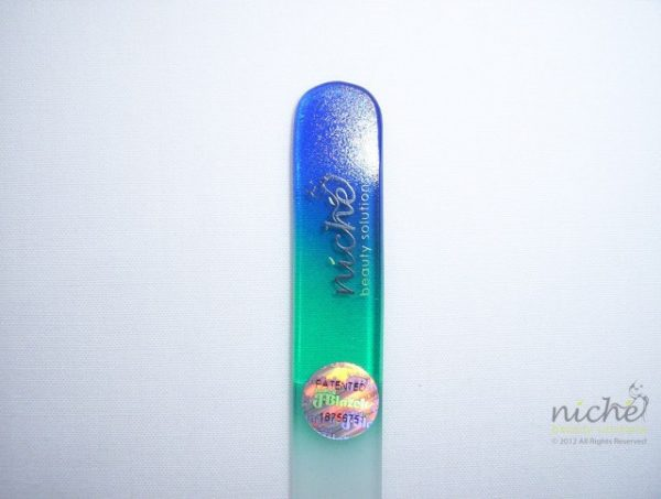 Medium Glass Nail File with a Navy Blue to Turquoise Handle