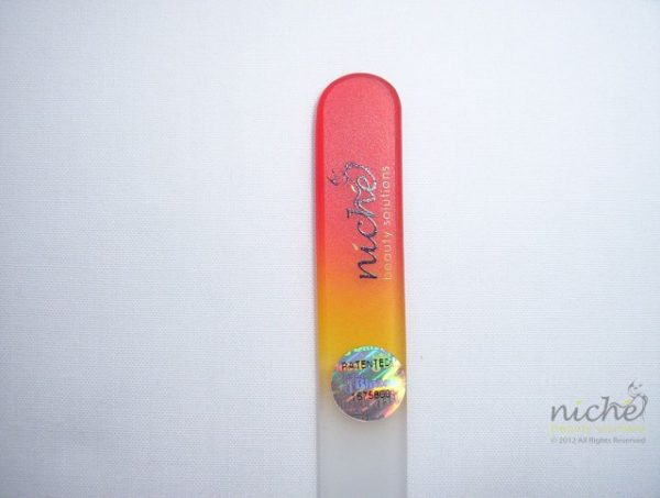 Medium Glass Nail File with a Red to Gold Handle