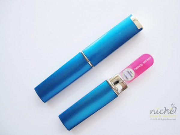 Small Glass Nail File Case in Aqua Blue