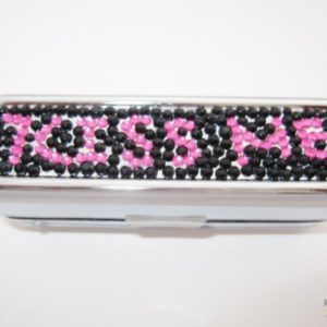 "Lipstick Case with ""Kiss Me"" Design in Jewels"