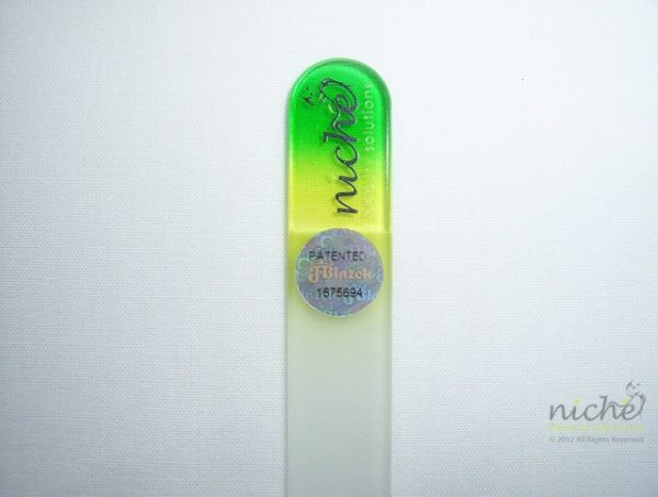 **SALE** Mini Glass Nail File with a Green to Yellow Handle
